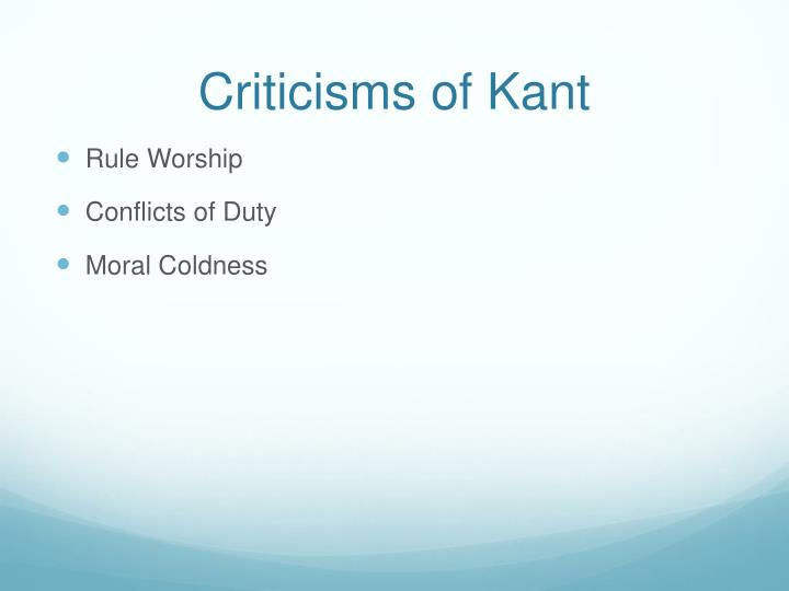 Criticisms of Kant