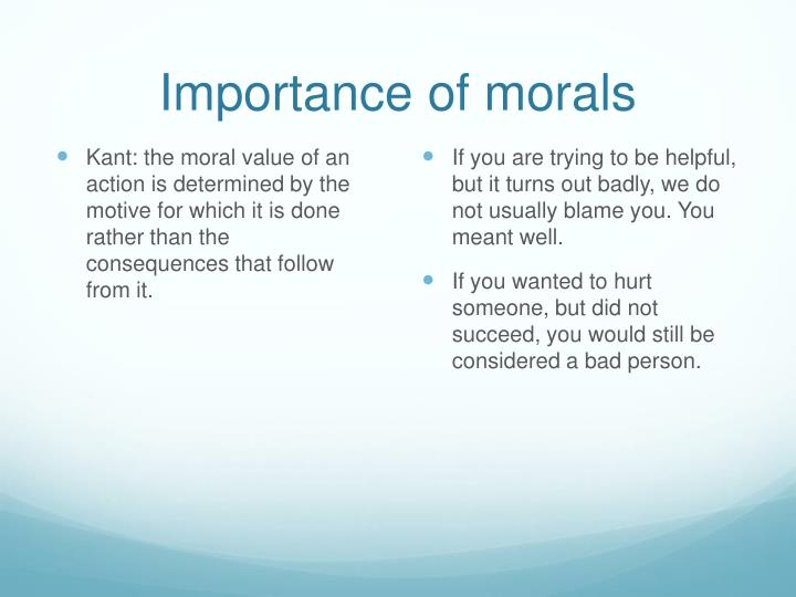 Importance of morals