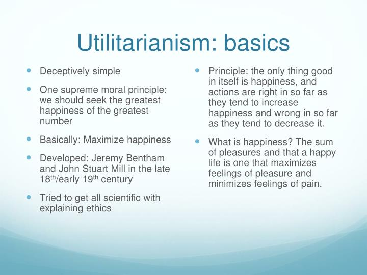 Utilitarianism: basics