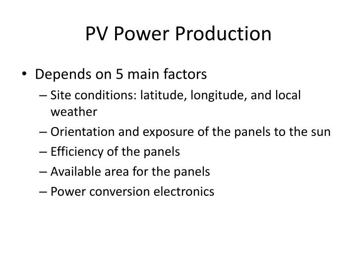 PV Power Production