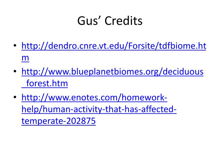 Gus' Credits