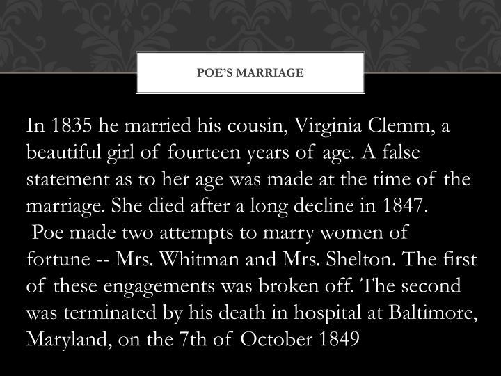 POE'S MARRIAGE