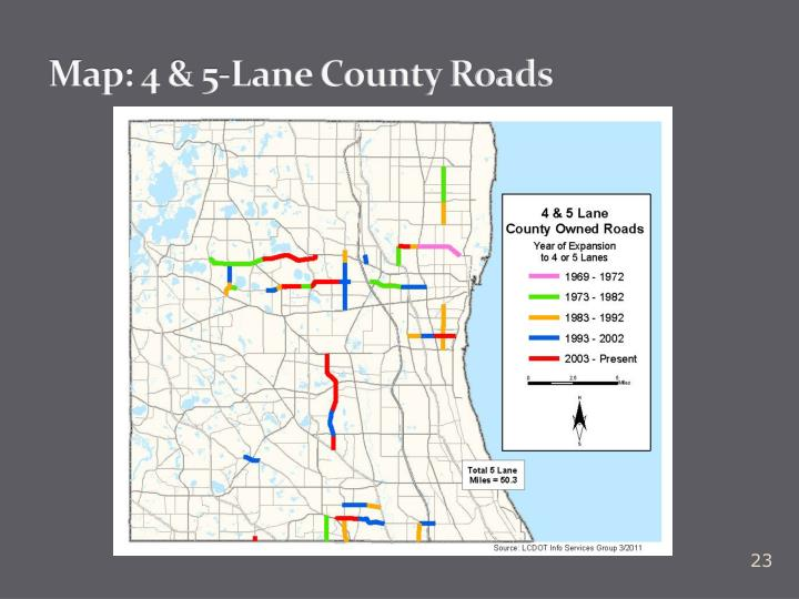 Map: 4 & 5-Lane County Roads