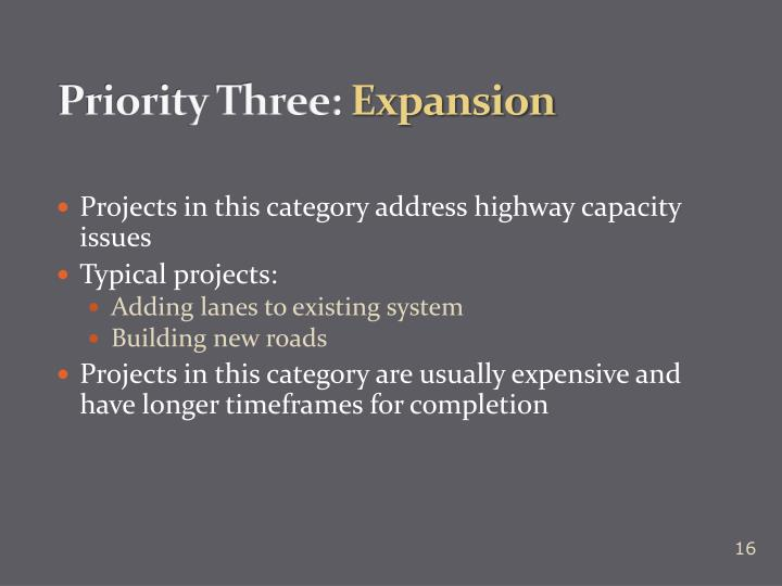 Priority Three: