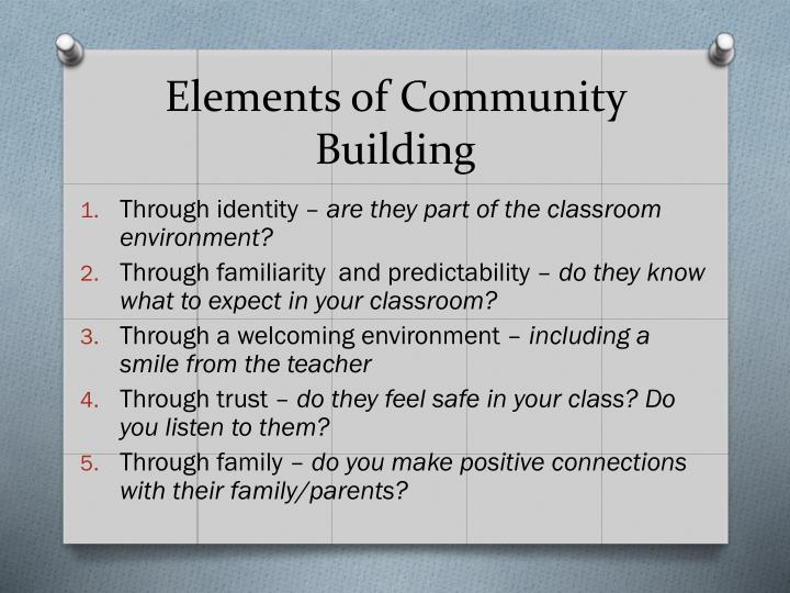 Elements of Community Building