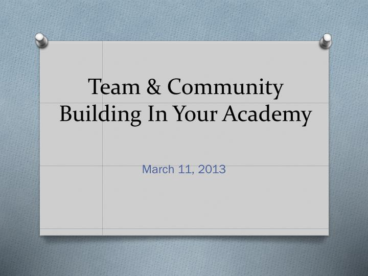 team community building in your academy