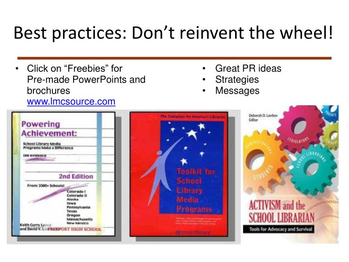 Best practices: Don't reinvent the wheel!