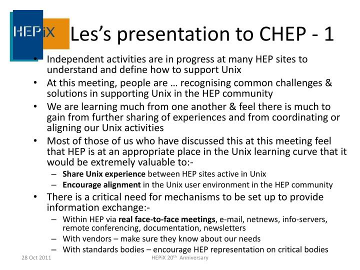 Les's presentation to CHEP - 1
