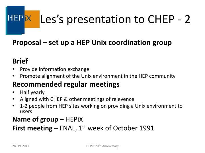 Les's presentation to CHEP - 2