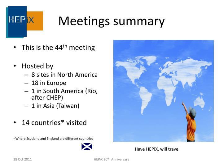 Meetings summary