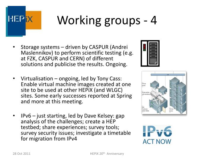 Working groups -