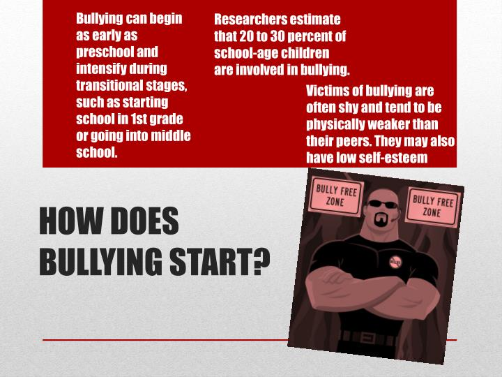 Bullying can begin as early as preschool and intensify during transitional stages, such as starting school in 1st grade or going into middle school.