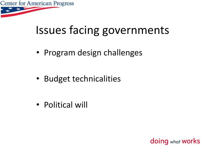 Issues facing governments