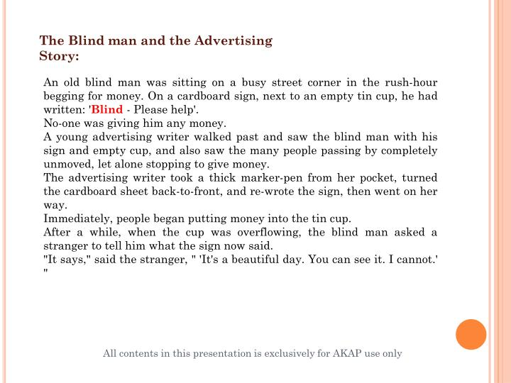 The Blind man and the Advertising Story: