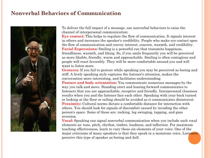 Nonverbal Behaviors of Communication