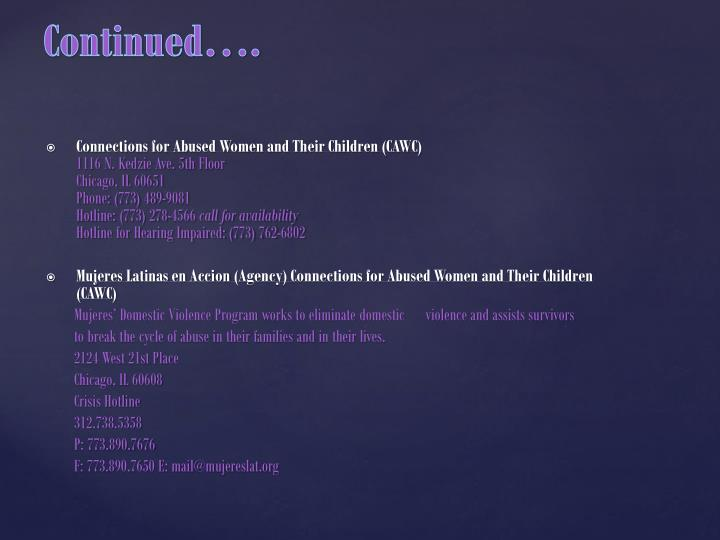 Connections for Abused Women and Their Children (CAWC)