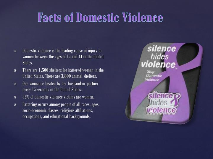 Domestic violence is the leading cause of injury to women between the ages of 15 and 44 in the United States.
