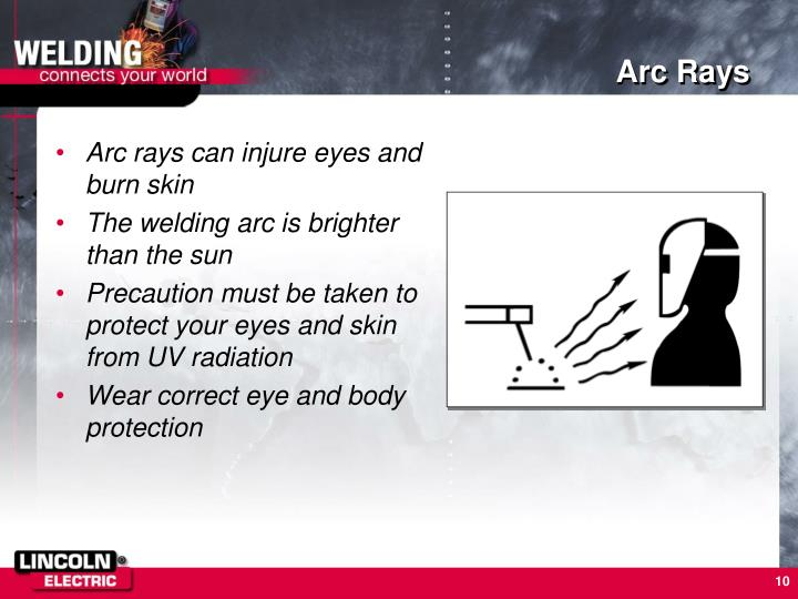 Arc rays can injure eyes and burn skin