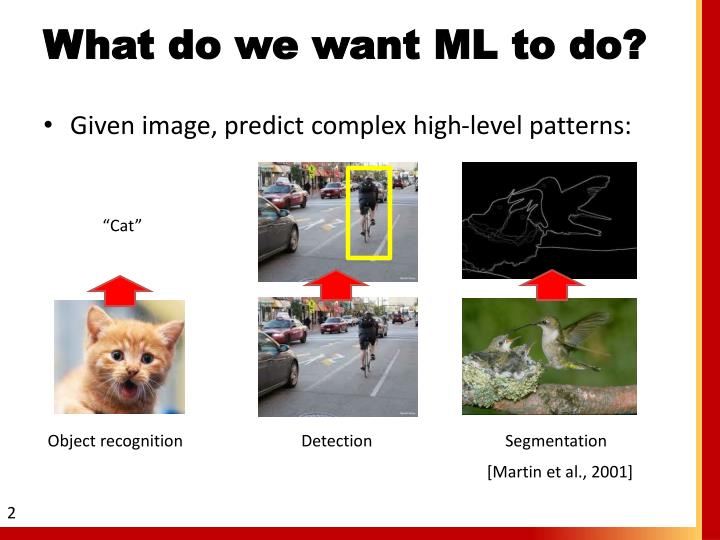 What do we want ML to do?