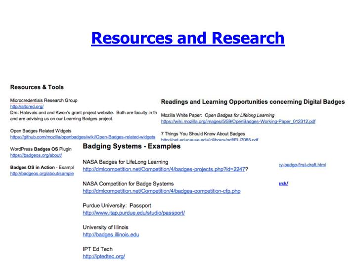 Resources and Research
