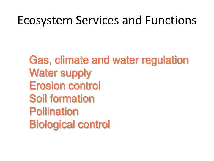 Ecosystem Services and Functions