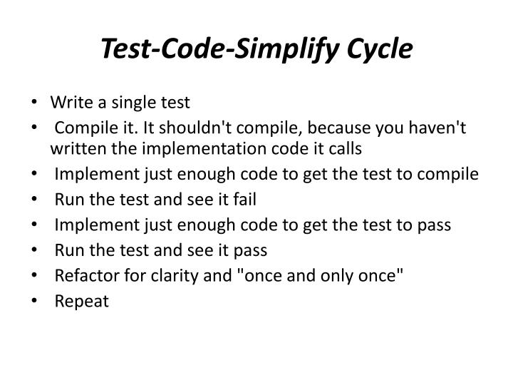 Test-Code-Simplify Cycle