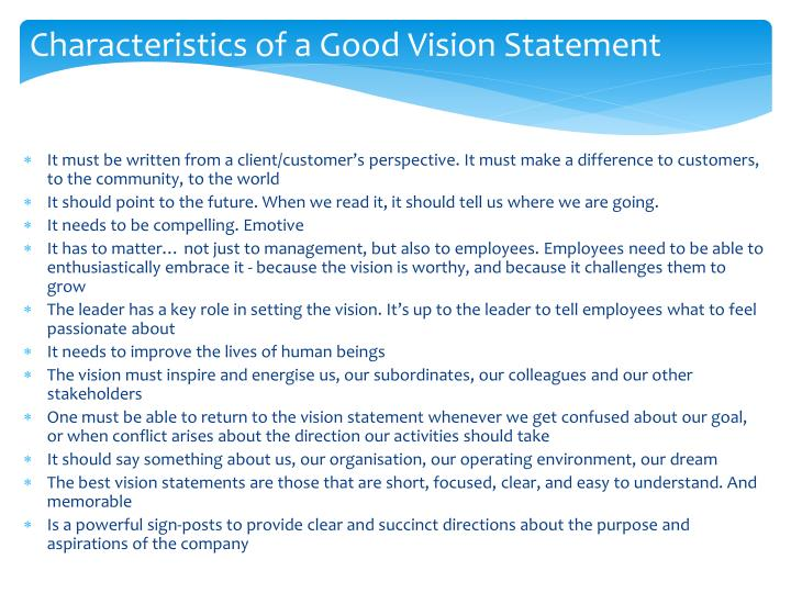 Characteristics of a Good Vision Statement