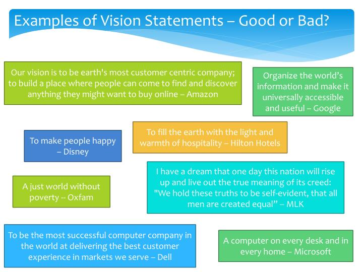 Examples of Vision Statements – Good or Bad?