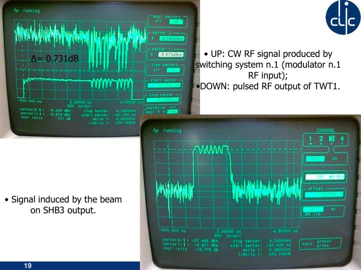 UP: CW RF signal produced by switching system n.1 (modulator n.1 RF input);