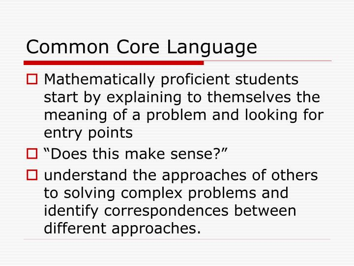 Common Core Language