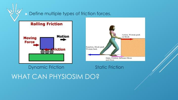 Define multiple types of friction forces.