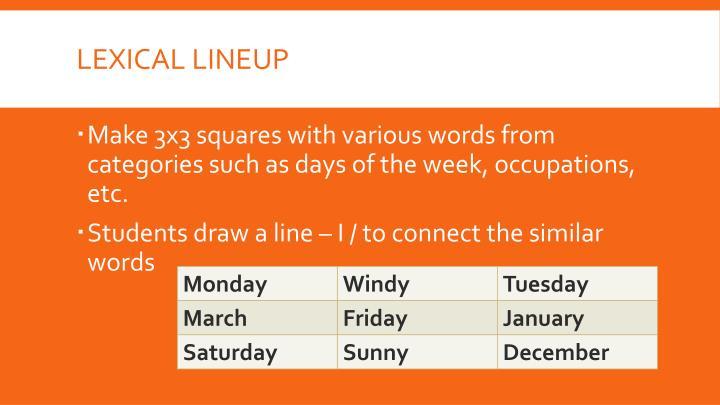 Lexical lineup