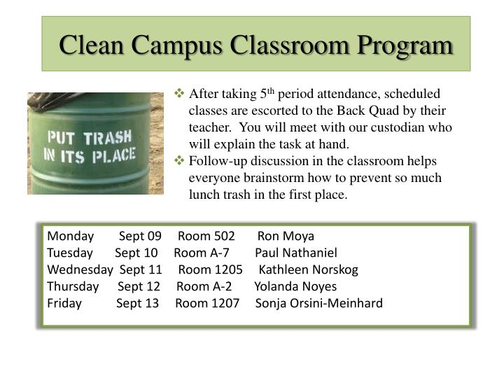 Clean Campus Classroom Program