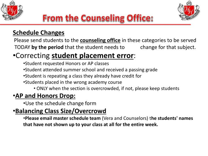 From the Counseling Office