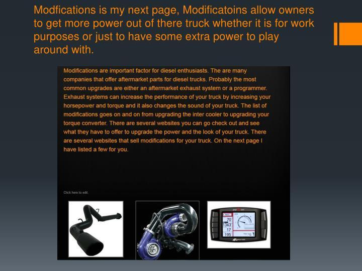 Modfications