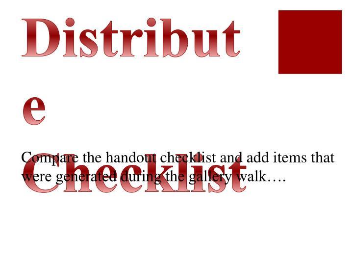 Distribute Checklist