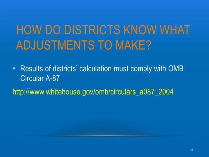 HOW Do districts KNOW WHAT ADJUSTMENTS TO MAKE?