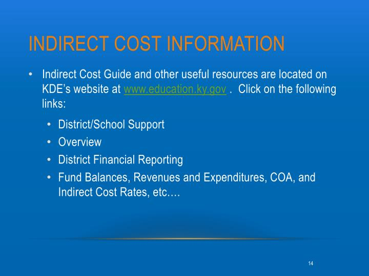 Indirect Cost Information