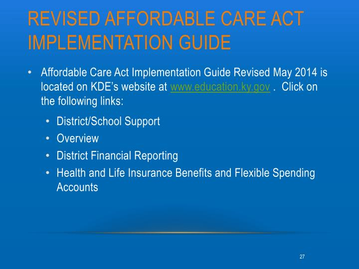 Revised Affordable care act implementation Guide