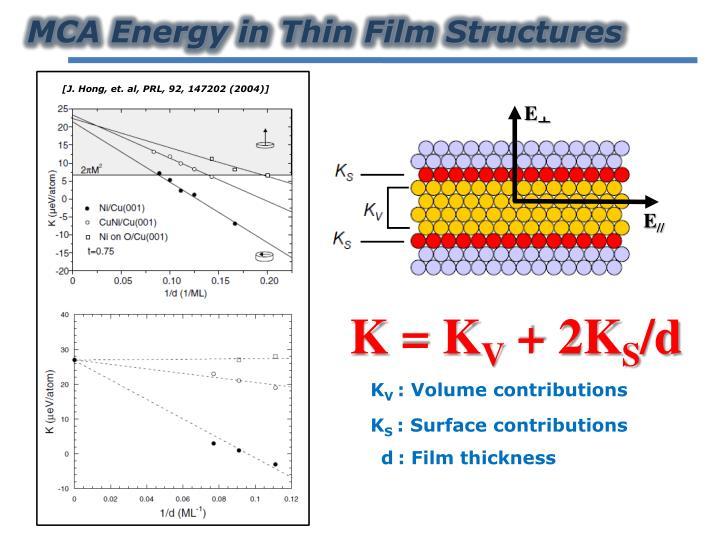 MCA Energy in Thin Film
