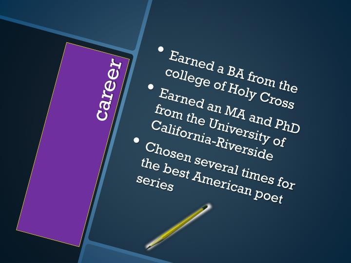 Earned a BA from the college of Holy Cross