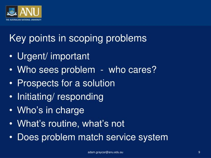 Key points in scoping problems