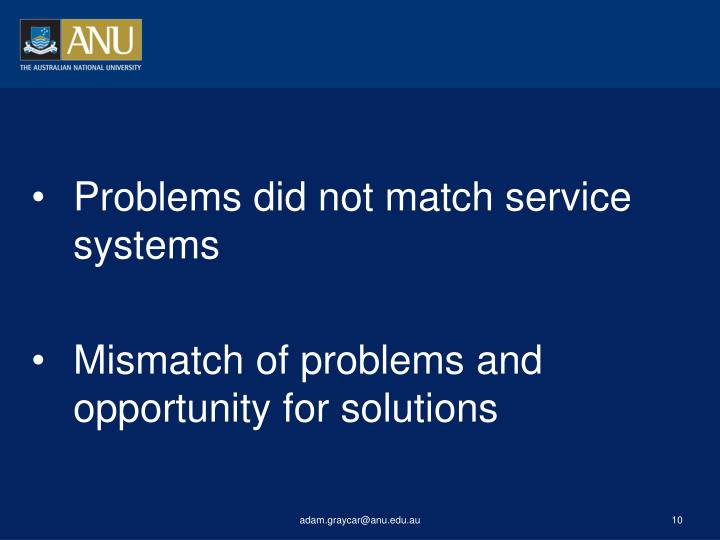 Problems did not match service systems