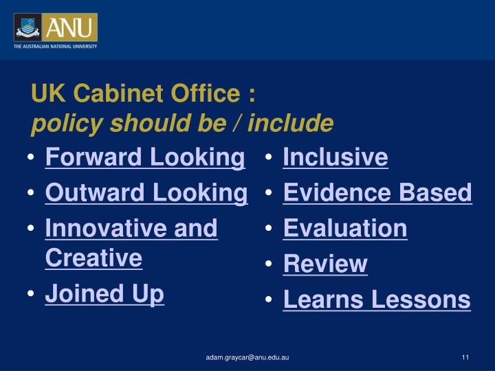 UK Cabinet Office :