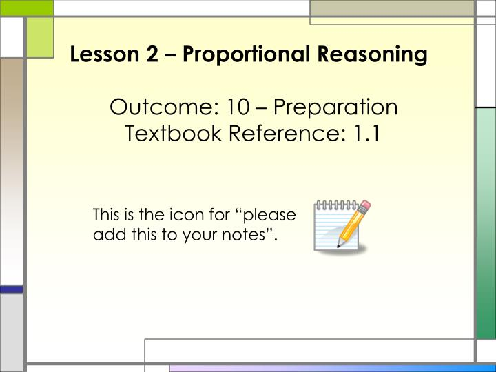 Lesson 2 – Proportional Reasoning