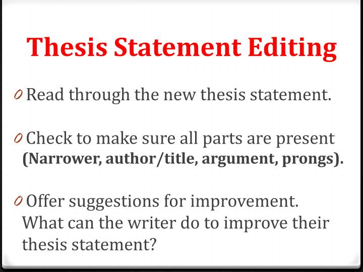 Thesis Statement Editing
