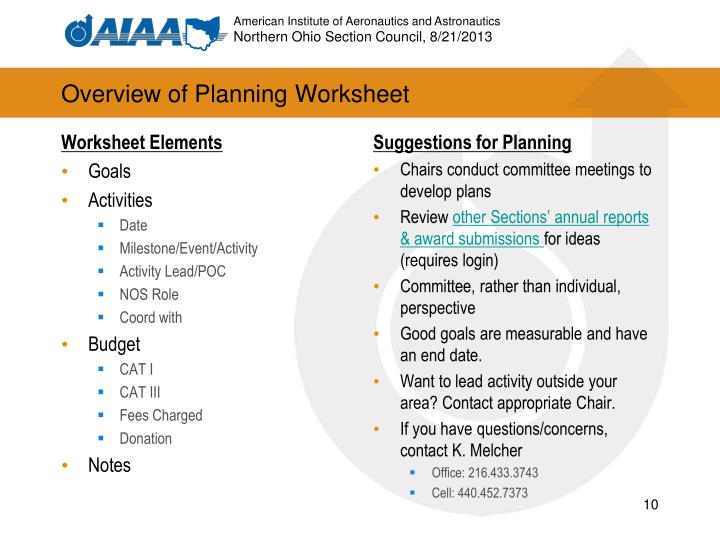 Overview of Planning Worksheet