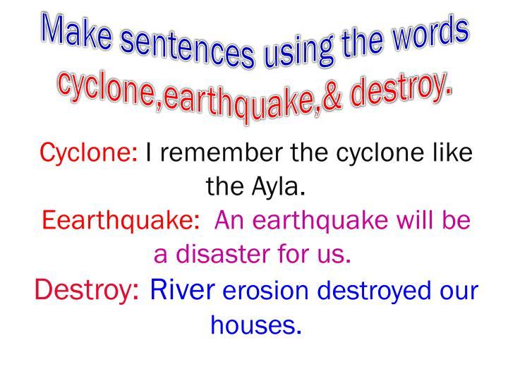 Make sentences using the words