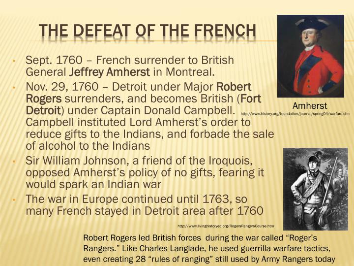 Sept. 1760 – French surrender to British General