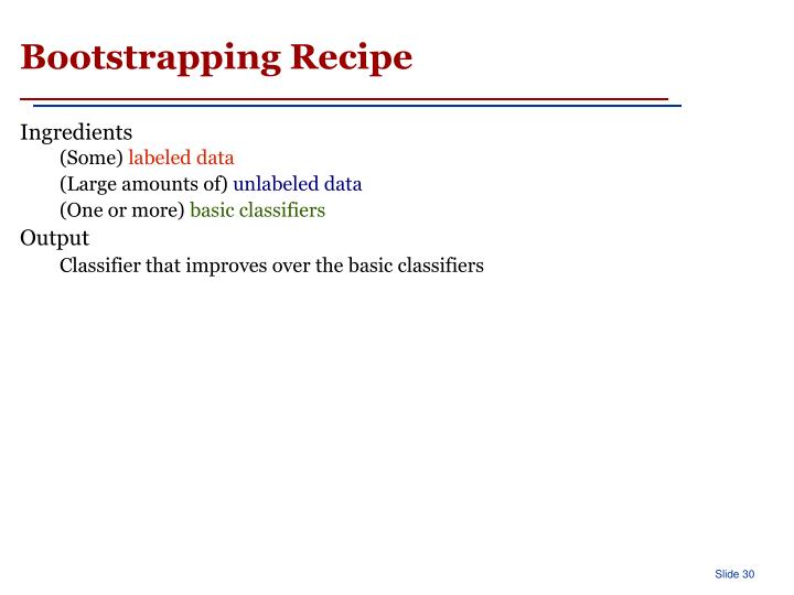 Bootstrapping Recipe